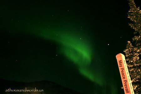 Northern Lights Illuminate Peace Pole-February, 2008