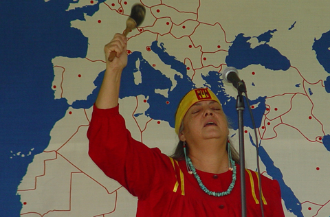 Grandmother Silver Star begins Native American blessing.