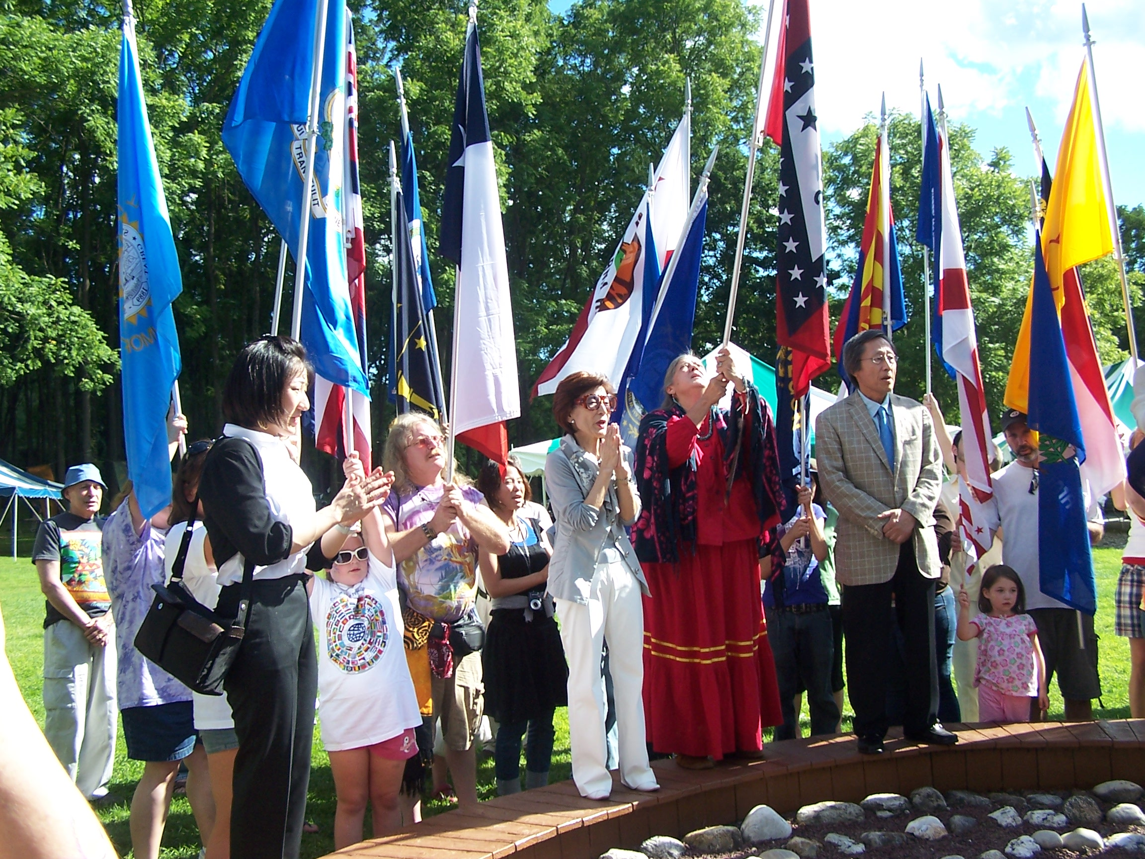 The Saionji's, special guests and visitors show support during the Time Capsule planting.