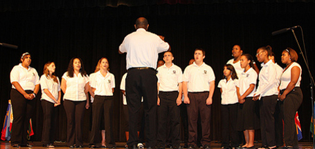 Beacon High School choir members sing for peace.