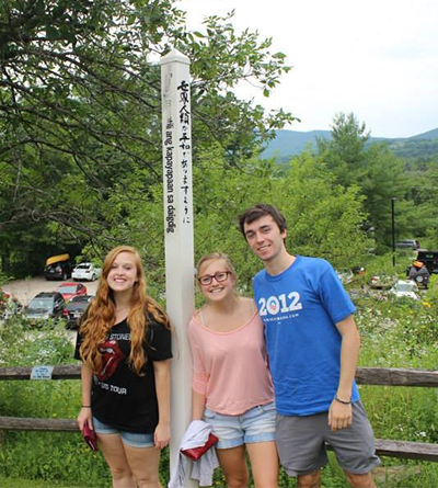 Hannah Bacon with friends Brittany and Drew at Ben & Jerry's Ice Cream Factory in Waterbury, Vermont