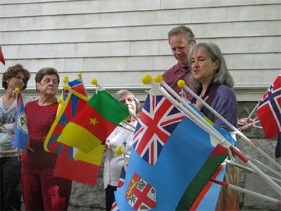 Deborah and Group with Flags