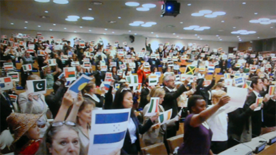 Students with Paper Flags