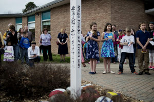 Peace Pole Dedication Ceremony-50th Anniversary Celebration at Adams Elementary School, Midland, Michigan-USA