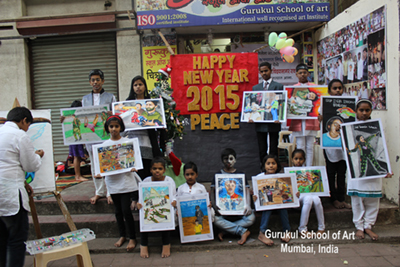 Happy New Year 2015 from the Students at Gurukul School of Art in Mumbai, India.