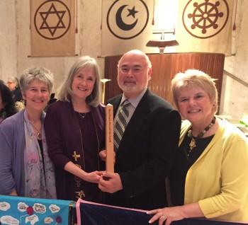Dr. Dorothy Maver of Kosmos Journal, Rev. Deborah Moldow, Jonathan Granoff,  and Monica Willard of the United Religions Initiative (photo by David Willard)
