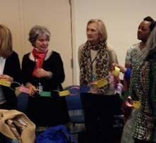 Martha Gallahue and Kay Dundorf with Prayer Chain