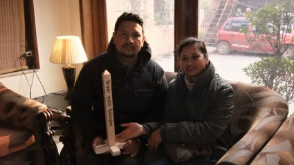 Mr. & Mrs. Thapas and the small Peace Pole made for them