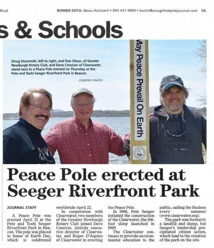 Doug Martin Peace Pole on Hudson River newspaperarticleRS