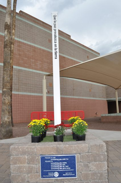 The Peoria Peace Pole is located in front of the auditorium at Centennial High School, 14388 N. 79th Ave.