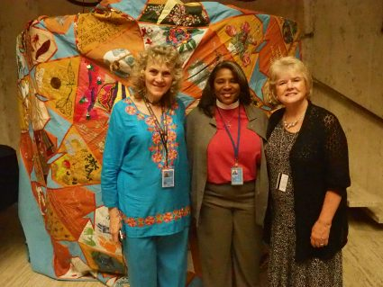 Peace Quilt with Ruth Broyde Sharone, Rev. Dionne Boissiere, Monica Willard (Photo: David Willard)
