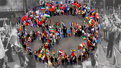 "World Peace Flag Ceremony ""Peace Sign""-NYC"