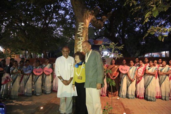 100th Anniversary Peace Pole dedicated at Gandhi Ashram in India