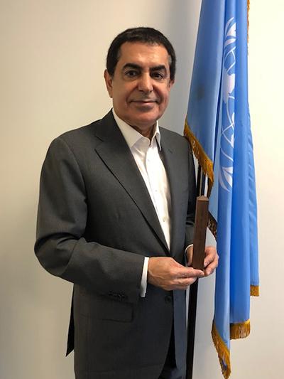 H.E. Nassir Abdulaziz Al-Nasser, High Representative for the Alliance of Civilizations receives Walnut Peace Pole