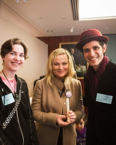 """Amy Poehler along with """"May Peace Prevail On Earth"""" at the """"Not on the Menu"""" event at the Rockefeller Foundation-NYC-USA"""
