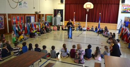 World Peace Flag Ceremony at the Burnham School, Washington, Connecticut, USA