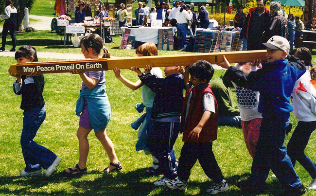 Children with Peace Poles