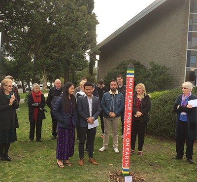 Peace Pole Dedication at Blackburn North/Nunawading Uniting Congregation. Nunawading, Victoria, Australia