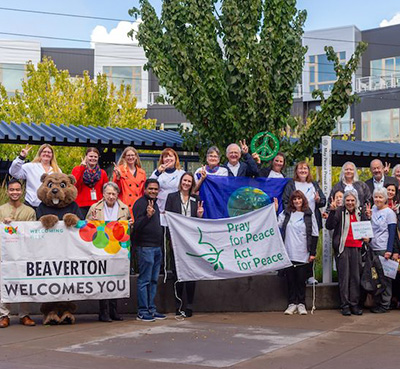 City Plants Two Peace Poles as Symbol of Acceptance and Unity. Beaverton, Oregon