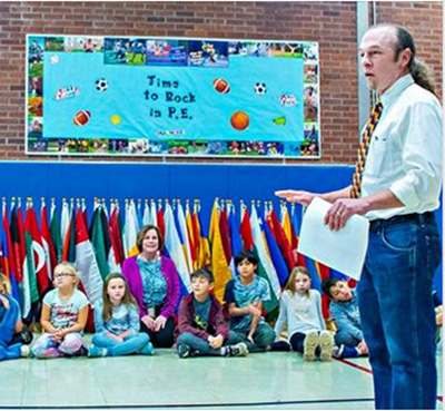 World Peace Flag Ceremony at The Booth Free School. Roxbury, CT USA