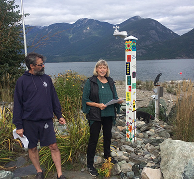 Peace Pole Planted for Small Community in Schroeder Point, British Columbia, Canada