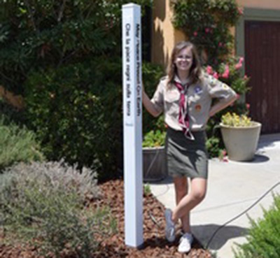 Spreading Peace and Making History. The First Female to Earn The Rank of Eagle Scout. Discovery Bay, California, USA.